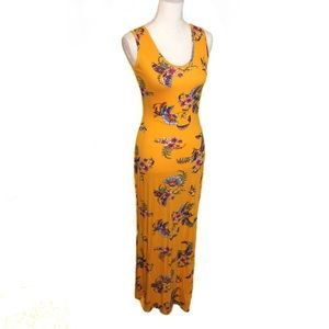 NWT Gold Floral Yellow Maxi Dress Y Back Scoop New